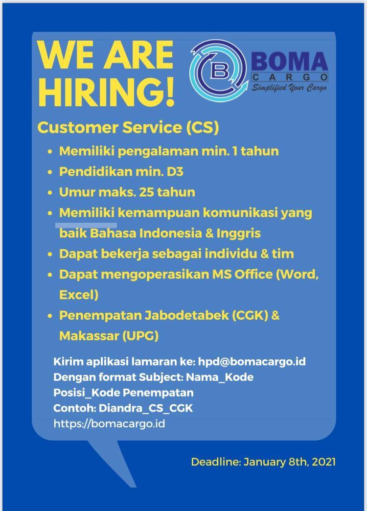 >Lowongan Kerja Customer Service (CS)