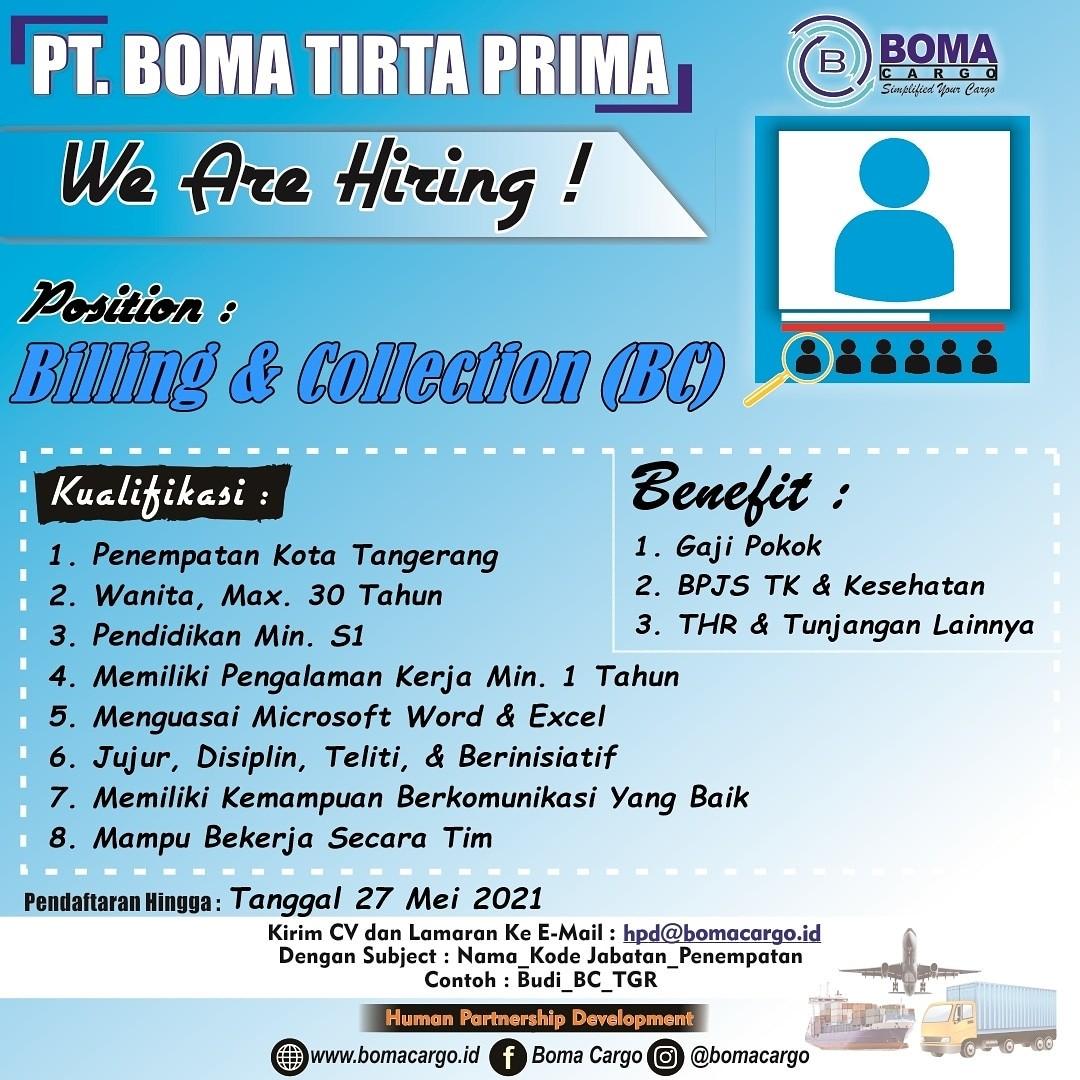 >We Are Hiring ! Boma Cargo Tangerang