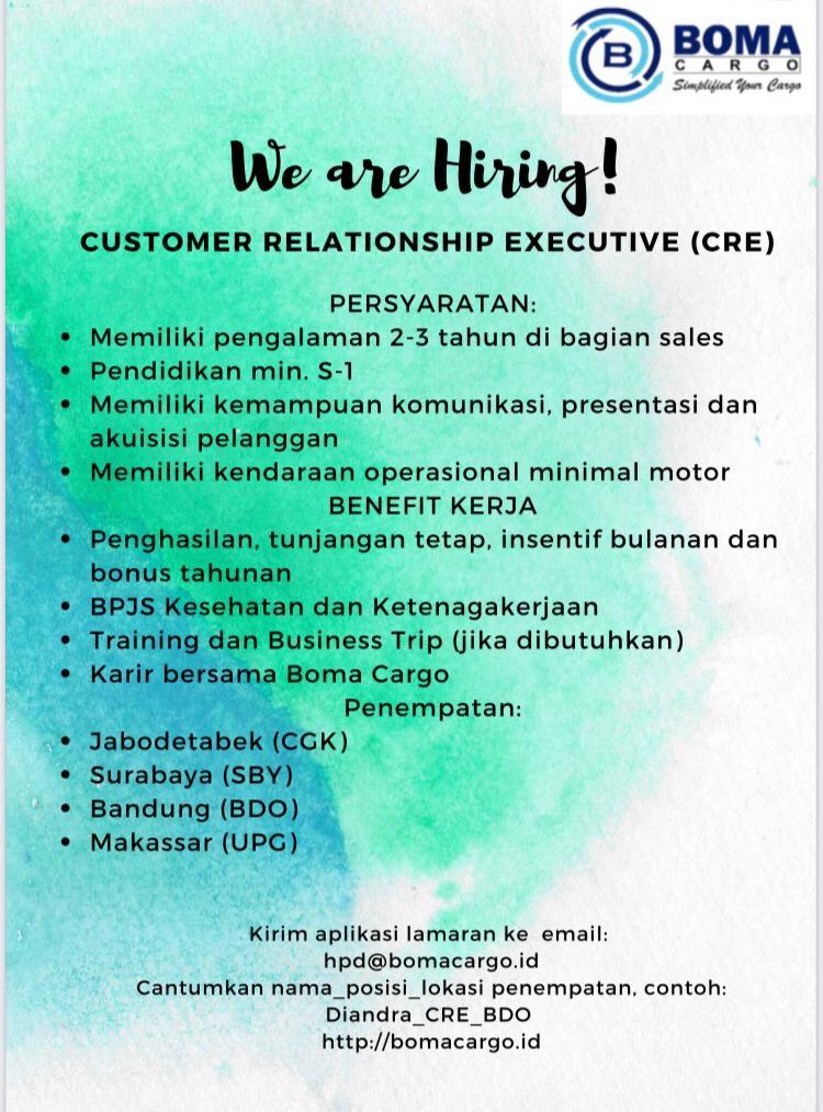 >Lowongan Kerja Customer Relationship Executive (CRE)